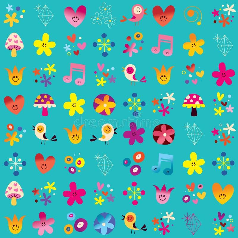 Teste padrão bonito da natureza dos cogumelos das flores dos pássaros dos corações ilustração stock