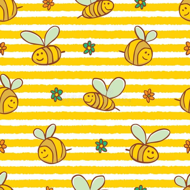 Teste padrão bonito da repetição das abelhas e das flores das listras amarelas do vetor Apropriado para o papel de embrulho, a ma ilustração royalty free