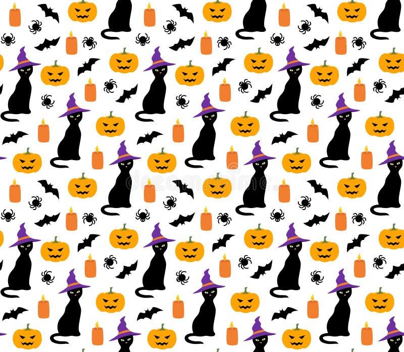 Teste padrão bonito de Dia das Bruxas com vetor do gato, da abóbora e do bastão ilustração stock