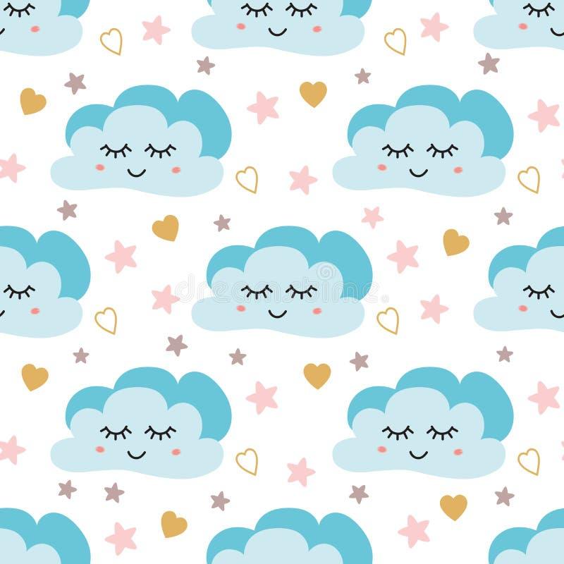Teste padrão bonito do céu Projeto sem emenda do vetor com sorriso, lua do sono, corações, estrelas e nuvens Ilustração do bebê ilustração stock