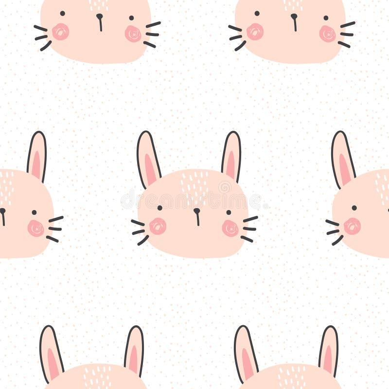 Teste padrão bonito do coelho ilustração royalty free