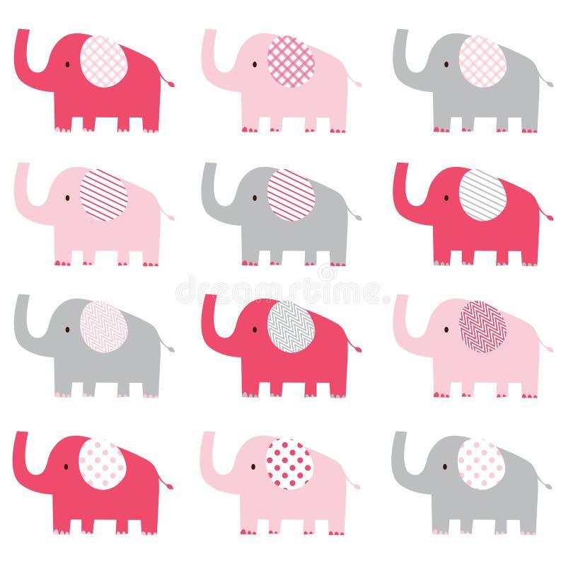 Teste padrão bonito do elefante cor-de-rosa ilustração royalty free