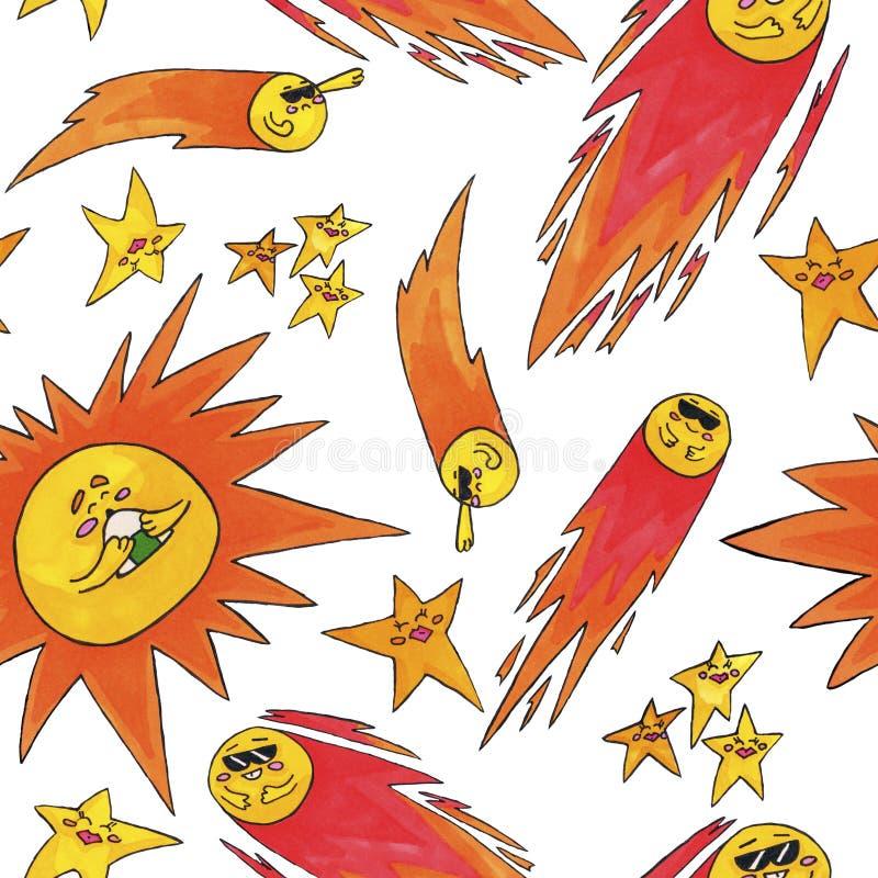 Teste padrão bonito do espaço para crianças Sun, estrelas e cometa ilustração stock
