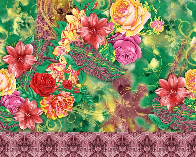 Teste padrão bonito do fundo da flor ilustração stock