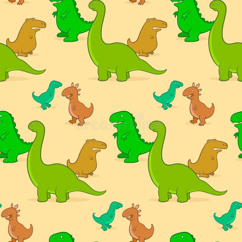 Teste padrão bonito do fundo do dinossauro dos desenhos animados ilustração do vetor