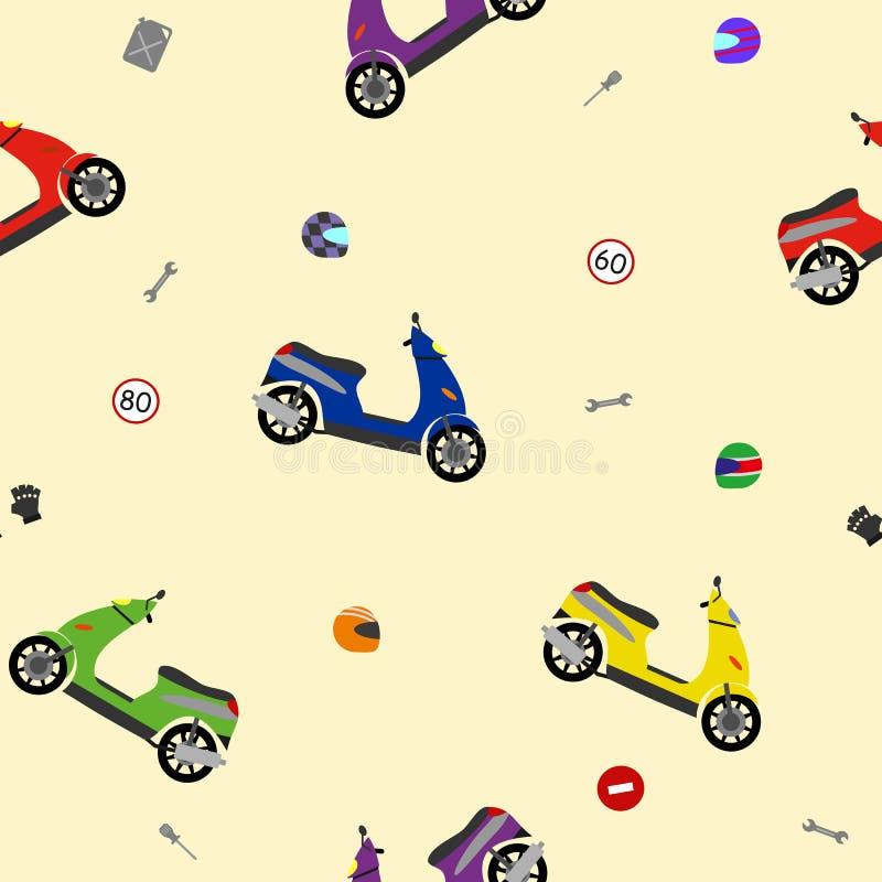 Teste padrão bonito do motobike para o cartaz do partido ilustração do vetor