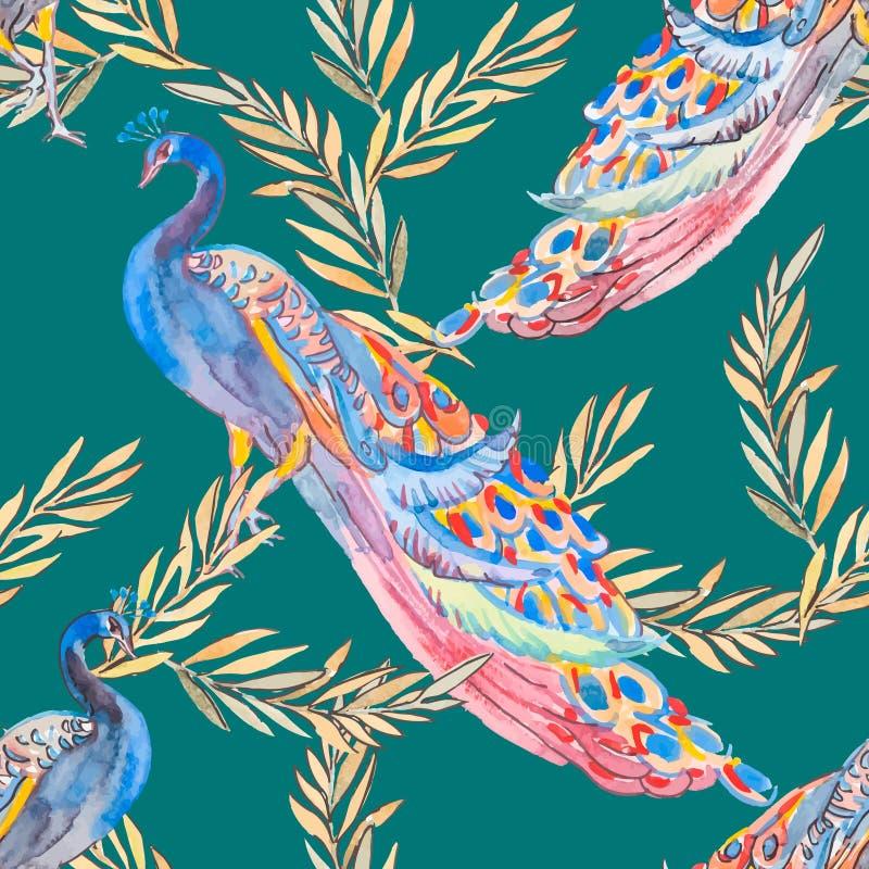 Teste padrão bonito do pavão Pavões e plantas ilustração do vetor