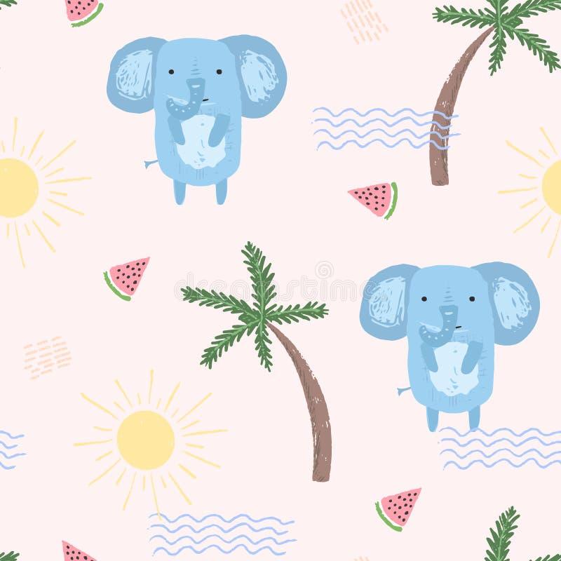 Teste padrão bonito do verão com elefantes, onda e melão ilustração royalty free
