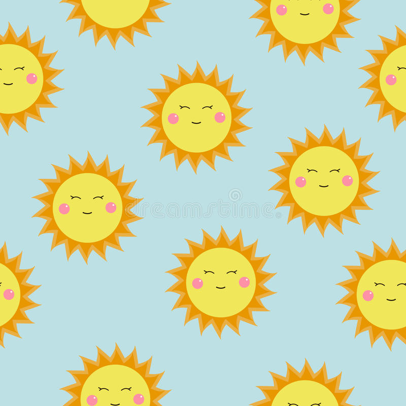 Teste padrão bonito do vetor de ícones do SOL Sóis felizes engraçados do smiley Teste padrão sem emenda dos desenhos animados bri ilustração stock