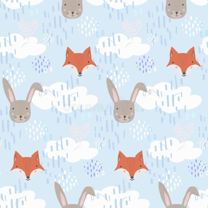Teste padrão bonito dos desenhos animados com raposa, lebre e nuvens ilustração do vetor