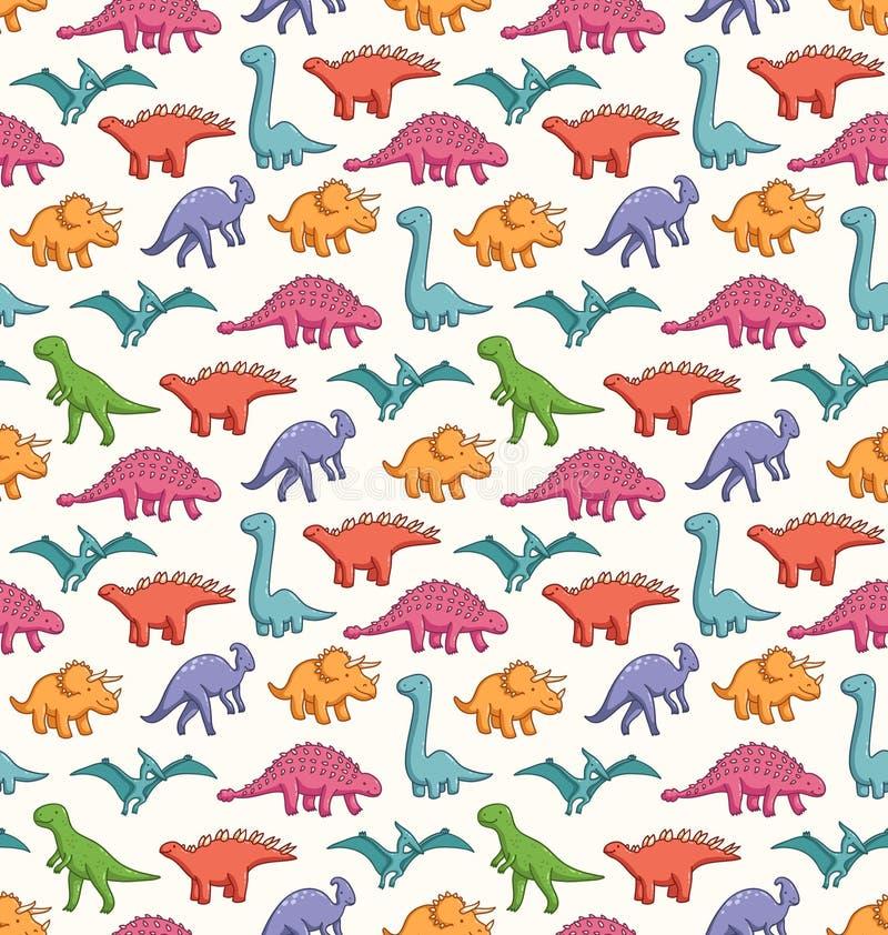 Teste padrão bonito dos dinossauros ilustração stock