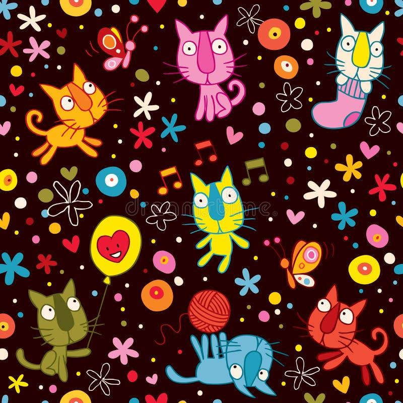 Teste padrão bonito dos gatinhos ilustração do vetor