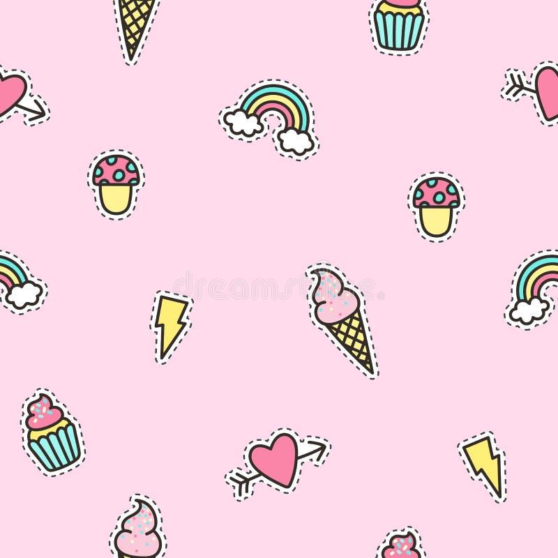 Teste padrão bonito dos objetos com fundo cor-de-rosa ilustração stock