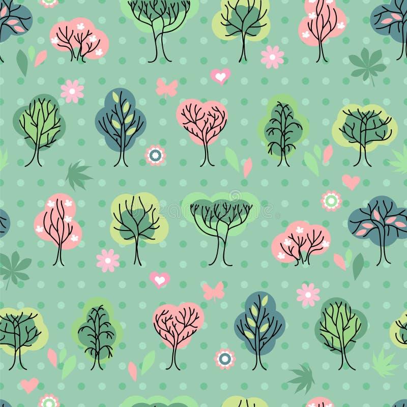 Teste padrão bonito sem emenda com as árvores bonitos estilizados ilustração royalty free