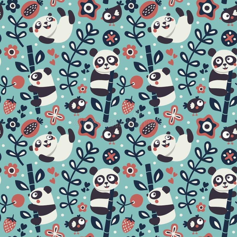Teste padrão bonito sem emenda com panda e bambu, plantas, selva, pássaro, baga, flores ilustração royalty free