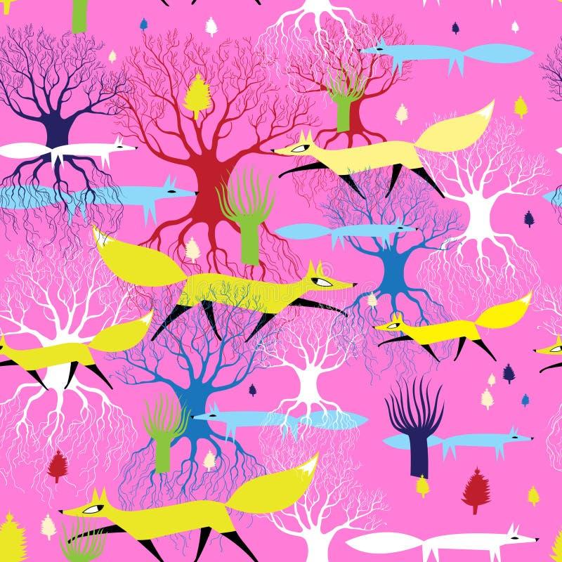 Teste padrão bonito sem emenda de raposas e de árvores brilhantes ilustração stock