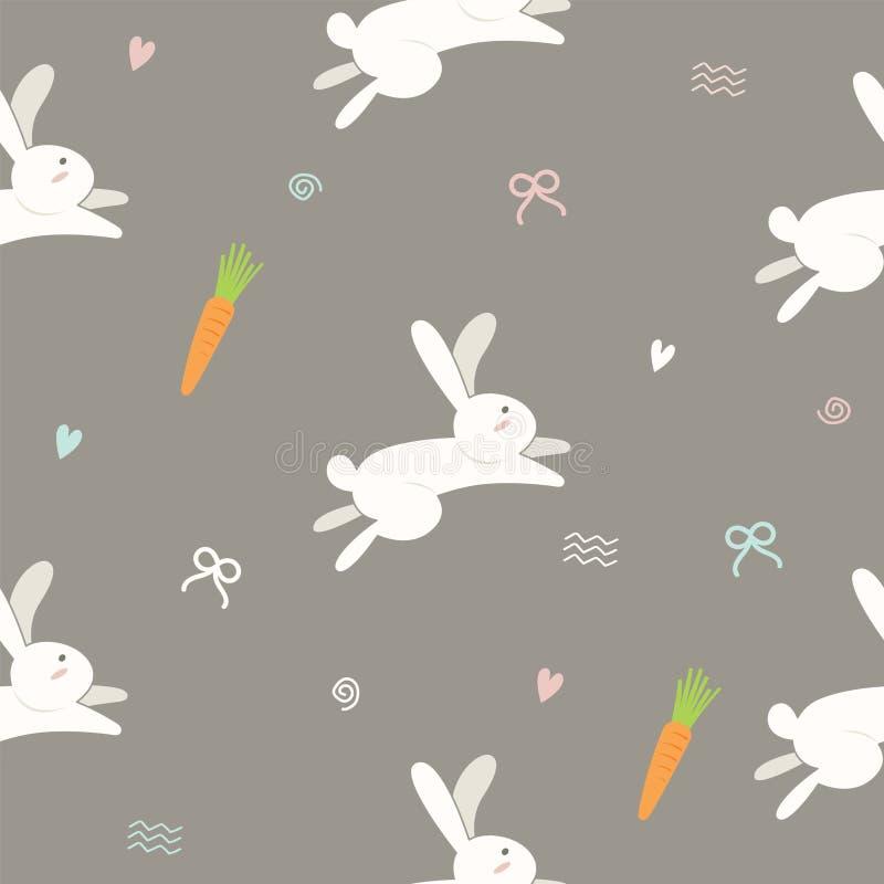 Teste padrão bonito sem emenda do coelho no estilo do vetor da garatuja ilustração do vetor