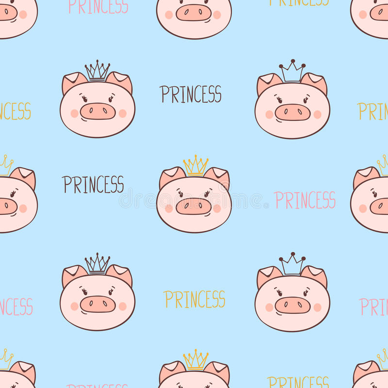 Teste padrão bonito sem emenda do porco da princesa ilustração do vetor
