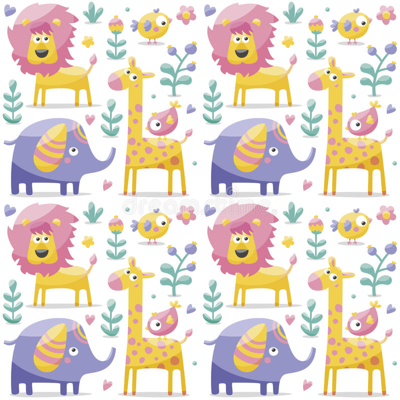 Teste padrão bonito sem emenda feito com elefantes, leão, girafa, pássaros, plantas, selva, flores, corações, folhas, pedra, baga ilustração stock