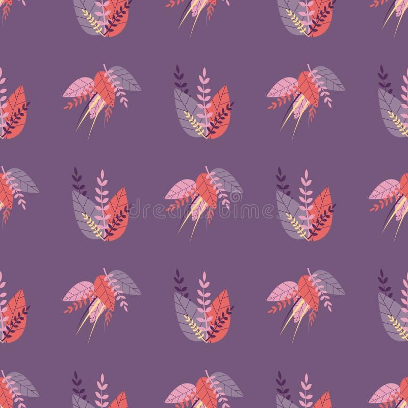 Teste padrão bonito sem emenda roxo no estilo erval ilustração royalty free