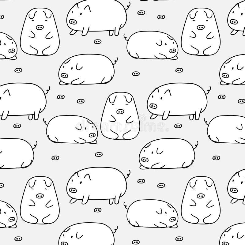 Teste padrão bonito tirado mão do vetor do porco Arte da garatuja ilustração stock