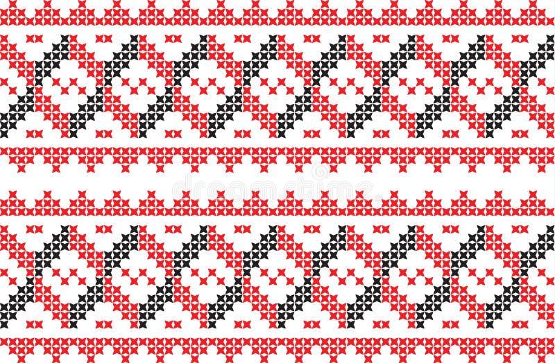 Teste padrão bordado do nacional do ornamento do ponto de cruz ilustração stock
