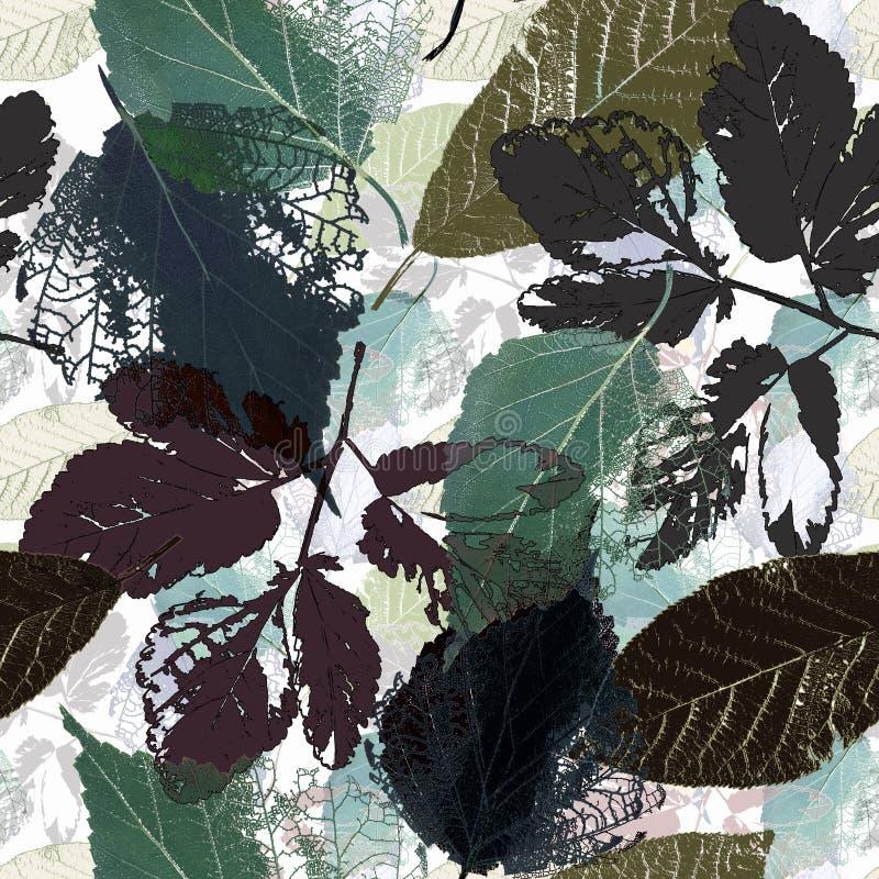 Teste padrão botânico sem emenda com folhas Folhas de outono em um fundo claro fotos de stock royalty free