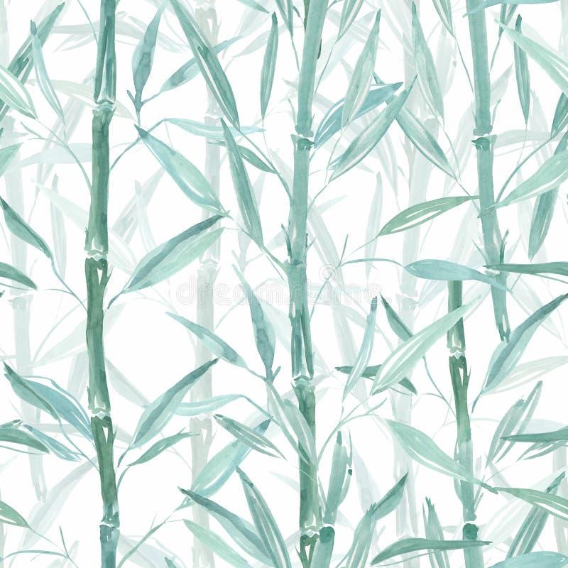 Teste padrão botânico sem emenda Ramos de bambu em um fundo cor-de-rosa Teste padrão à moda para matérias têxteis ilustração stock