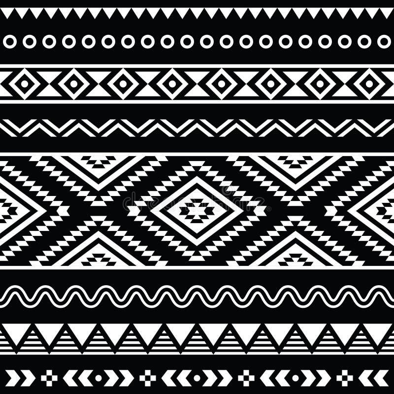 Teste padrão branco asteca sem emenda tribal no fundo preto ilustração royalty free