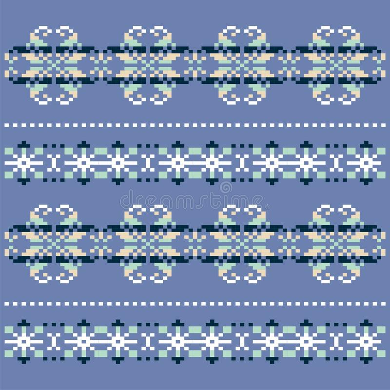Teste padrão branco azul feito malha inverno do floco de neve Projeto da camiseta do Natal Teste padrão escandinavo tradicional p ilustração stock