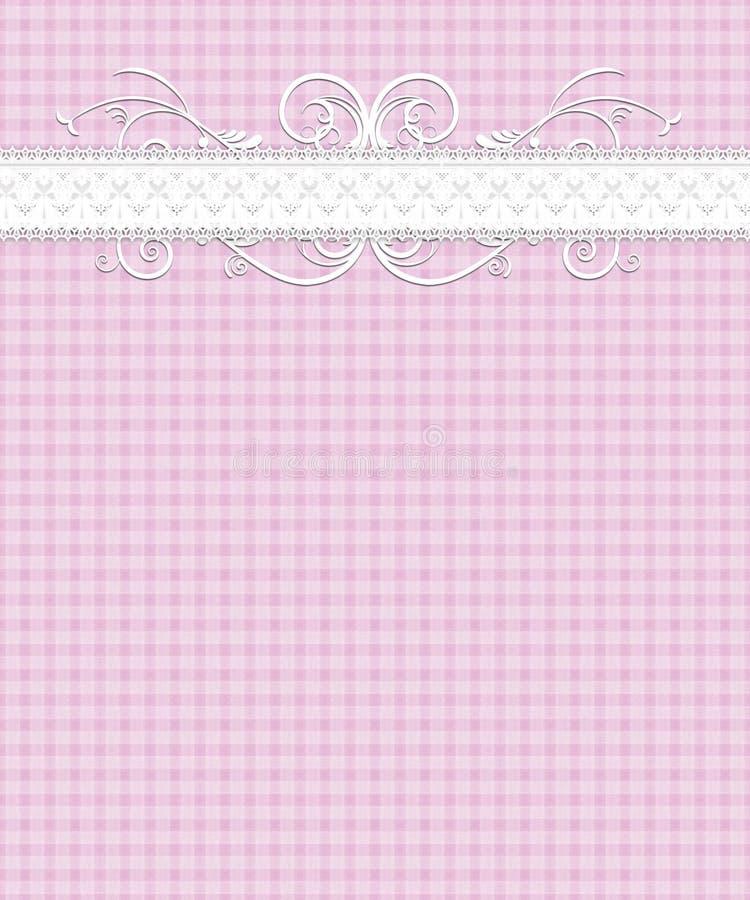 Teste padrão branco cor-de-rosa do guingão, laço, Flourish ilustração stock