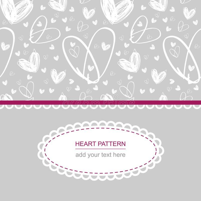 Teste padrão branco do coração no fundo cinzento com etiqueta e texto brancos ilustração do vetor