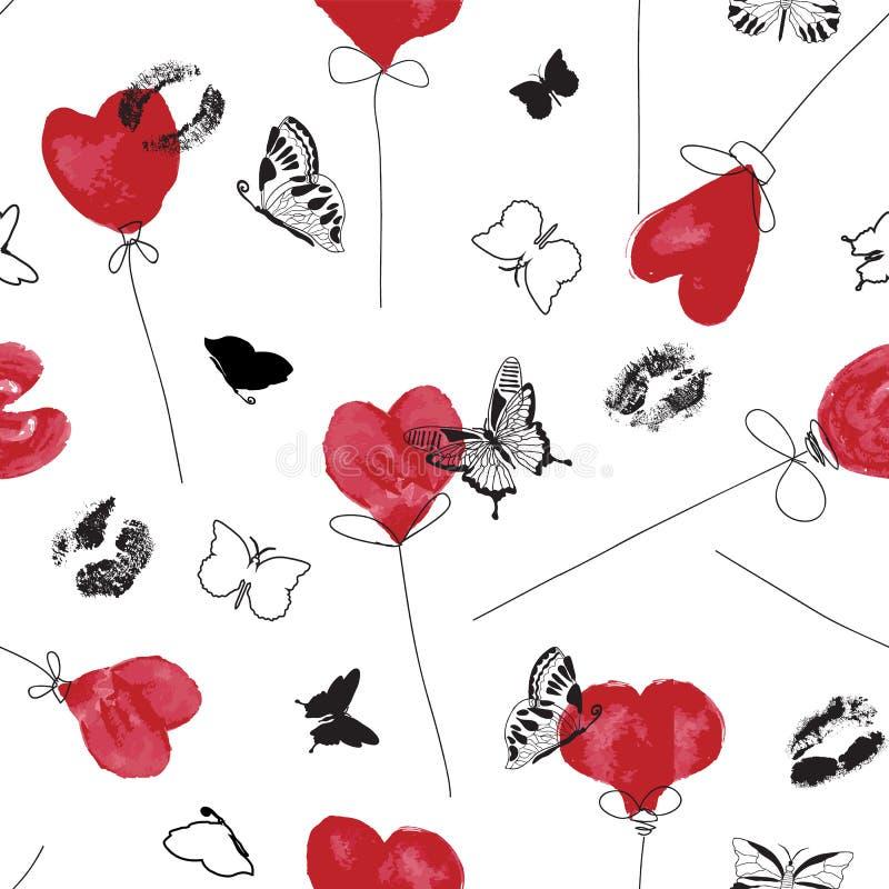 Teste padrão branco e preto vermelho gráfico do símbolo do amor com os balões do coração da aquarela, as cópias manchados de tint ilustração royalty free