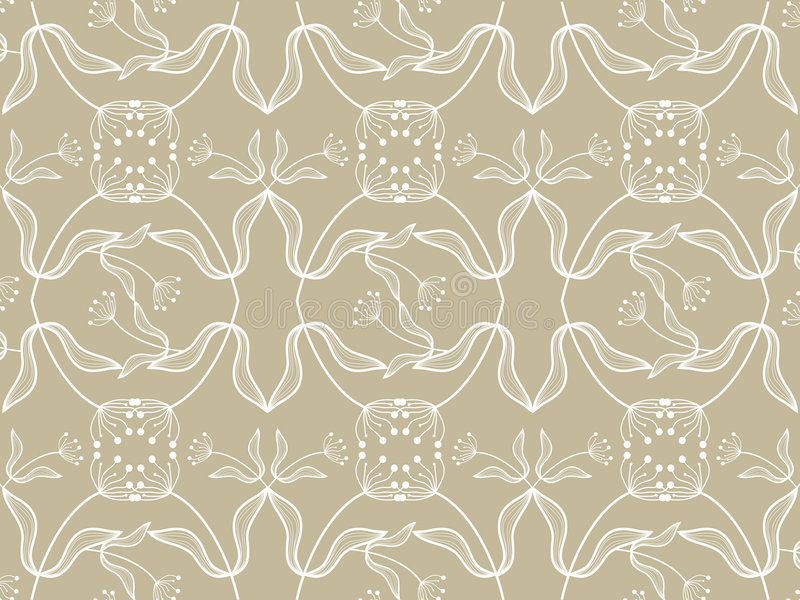 Teste padrão branco floral no taupe ilustração stock