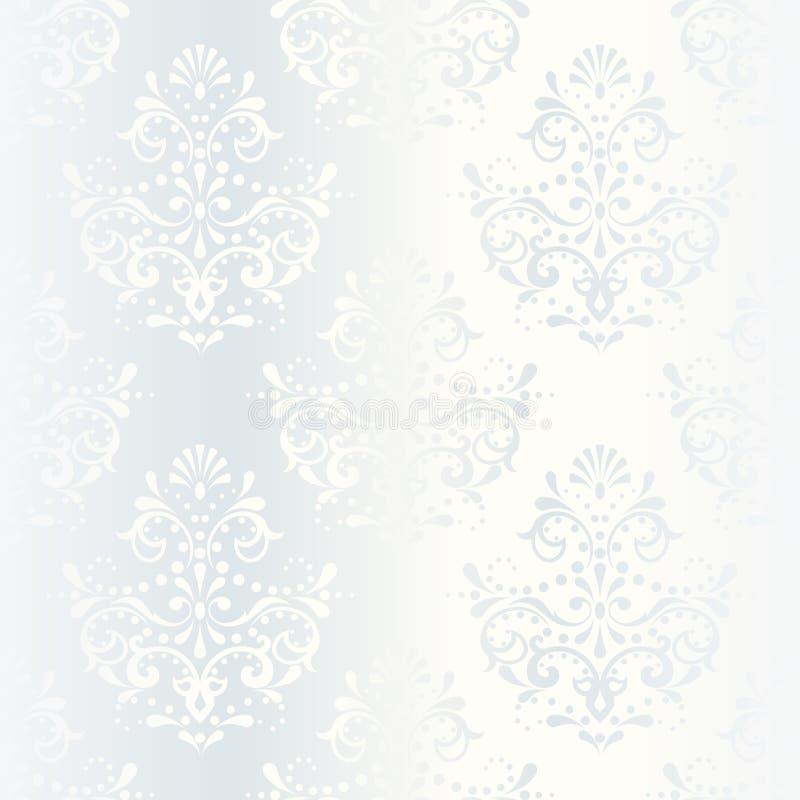 Teste padrão branco intricado do casamento do cetim fotografia de stock