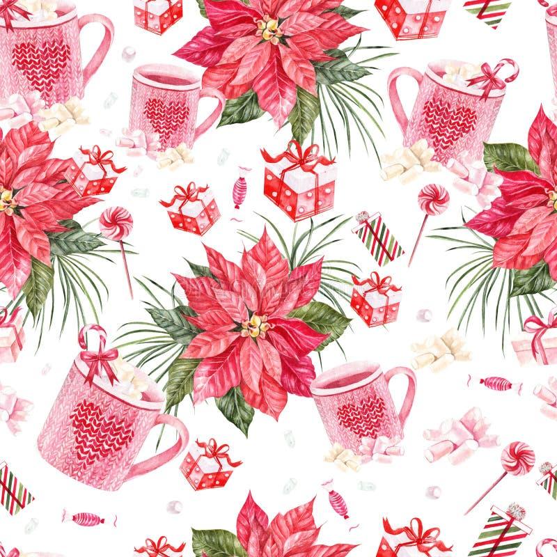 Teste padrão brilhante bonito do ano novo da aquarela com flor e presentes do Natal ilustração do vetor