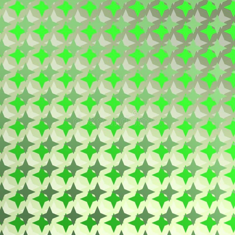 Teste padrão brilhante com estrelas verdes ilustração stock
