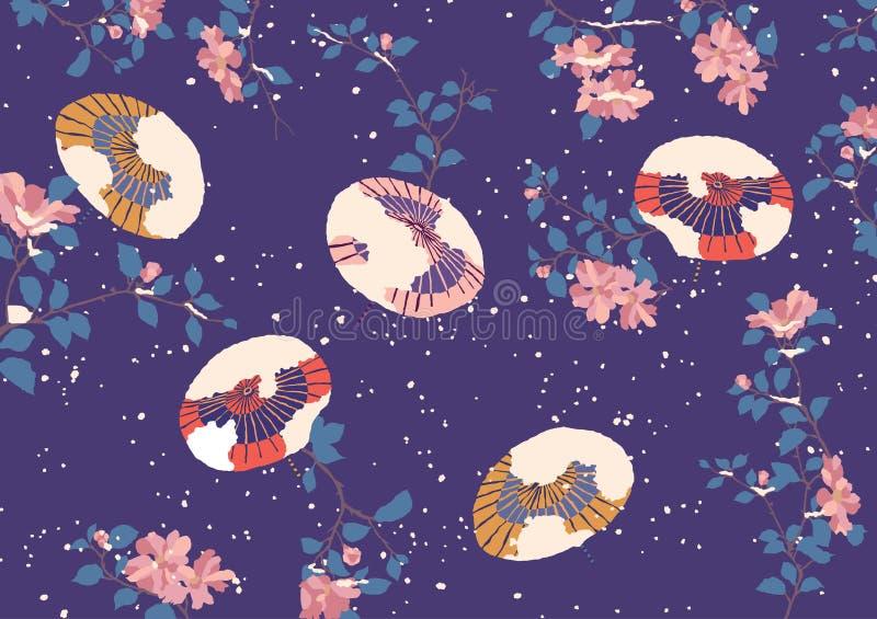 Teste padrão brilhante com os guarda-chuvas japoneses no fundo nevado do inverno ilustração do vetor