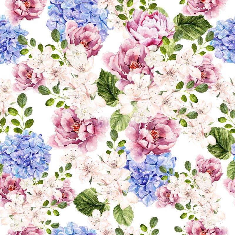 Teste padrão brilhante da aquarela bonita com as flores da peônia, do hudrangea e da mola fotografia de stock royalty free