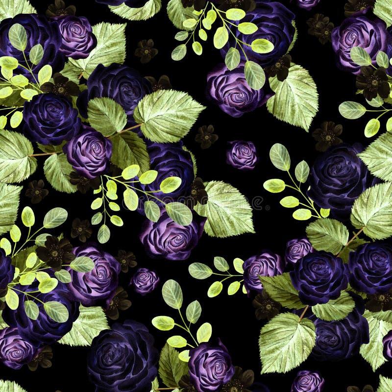 Teste padrão brilhante da aquarela bonita com flores das rosas imagem de stock royalty free