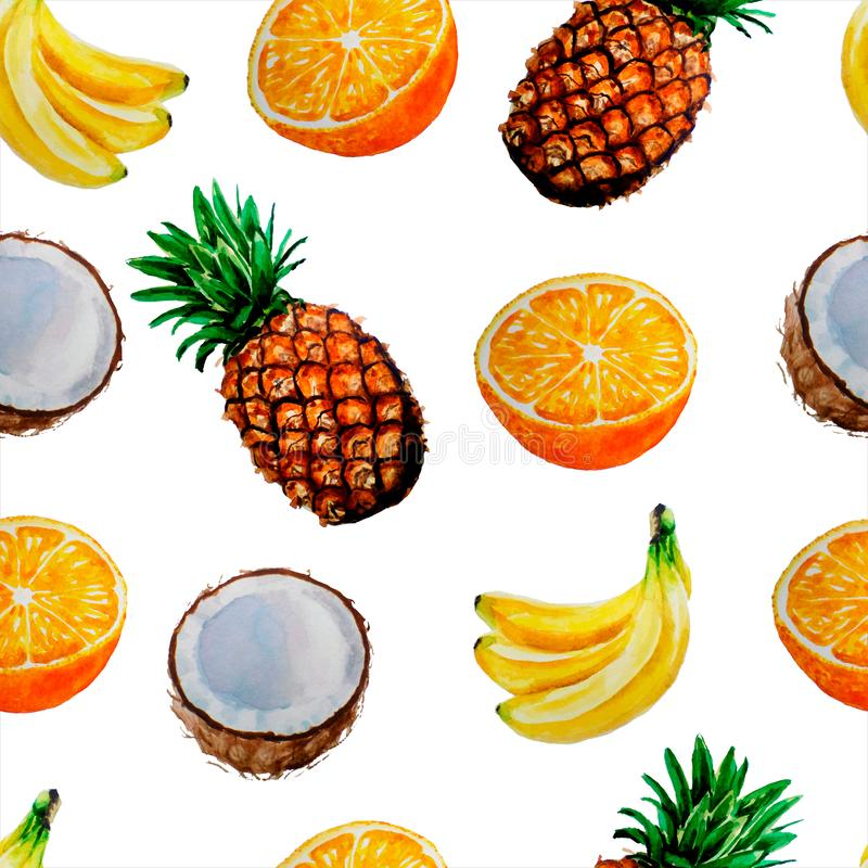 Teste padr?o brilhante da aquarela do ver?o do fruto: abacaxi, coco, laranja, banana ilustração stock
