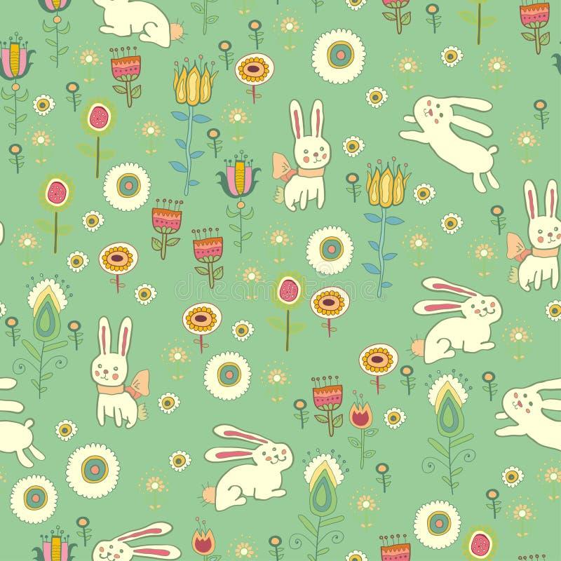 Teste padrão brilhante da Páscoa com coelhos ilustração do vetor