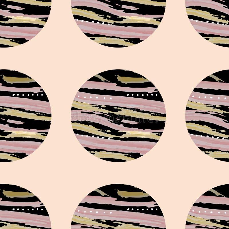 Teste padrão brilhante de círculos pretos com textura no fundo cor-de-rosa EPS10 ilustração stock