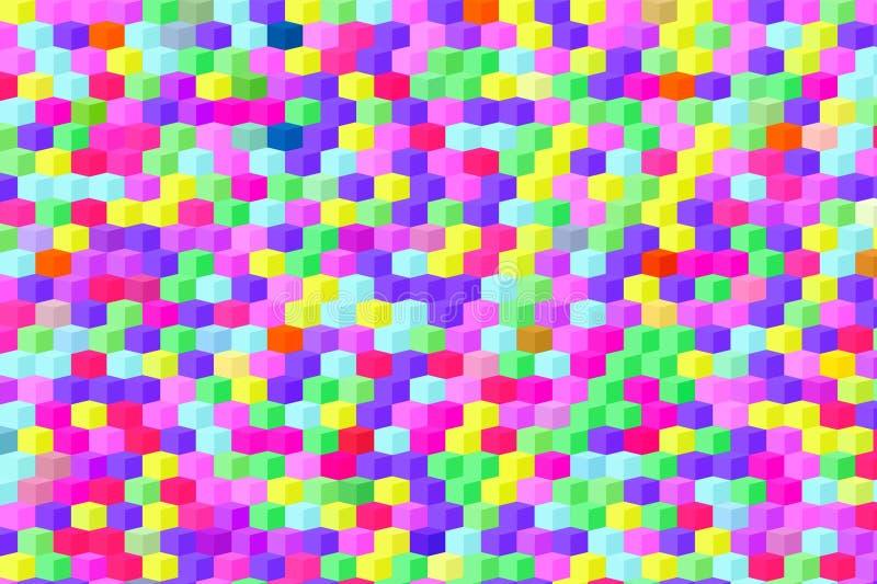 Teste padrão brilhante de cubos multi-coloridos ilustração stock