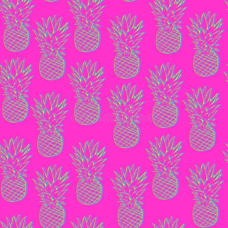 Teste padrão brilhante do abacaxi ilustração stock