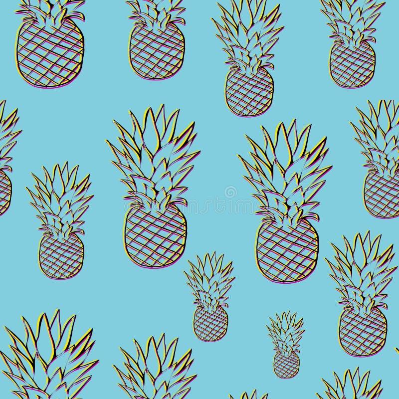 Teste padrão brilhante do abacaxi no estilo 3d ilustração stock
