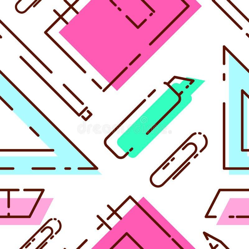 Teste padrão brilhante dos artigos de papelaria Teste padrão sem emenda com caderno, ilustração do vetor