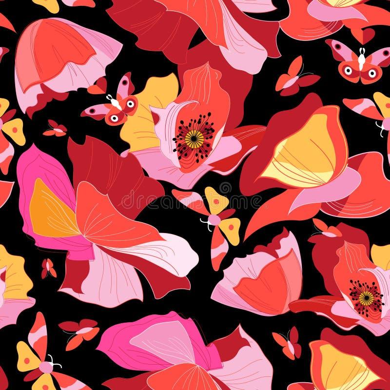 Teste padrão brilhante sem emenda de papoilas lindos vermelhas ilustração do vetor