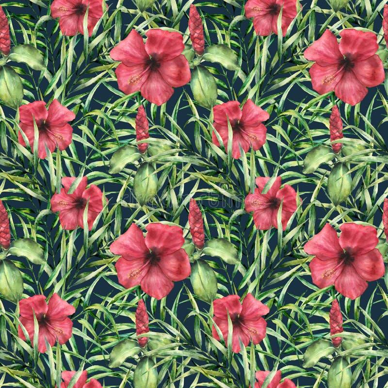 Teste padrão brilhante tropical da aquarela com hibiskus Flores pintados à mão com folhas de palmeira na obscuridade - fundo azul imagem de stock royalty free