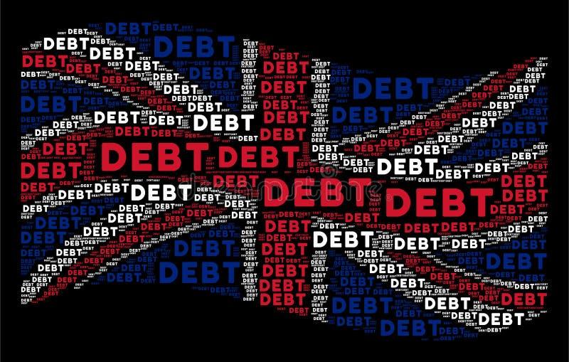 Teste padrão BRITÂNICO de ondulação da bandeira de artigos da palavra do débito ilustração royalty free